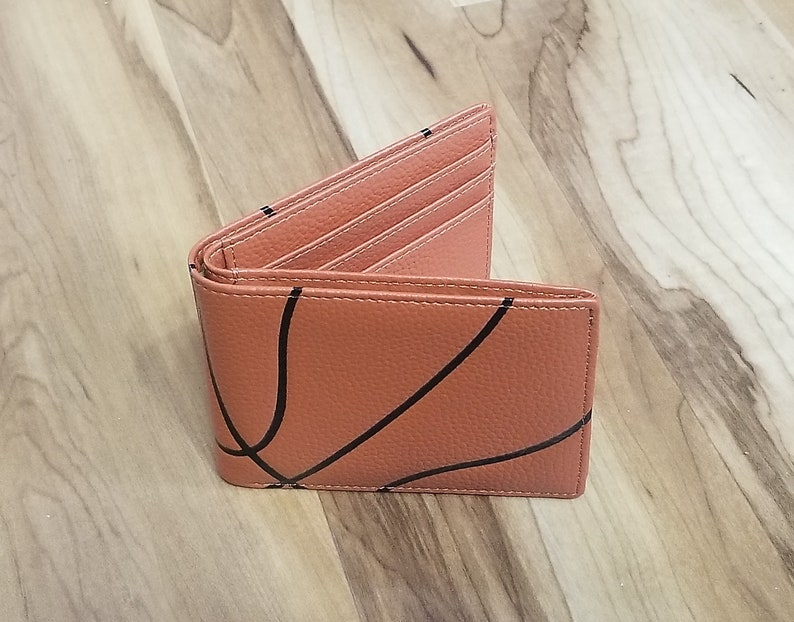 Leather Basketball Bi-Fold Wallet Billfold Great Basketball image 0