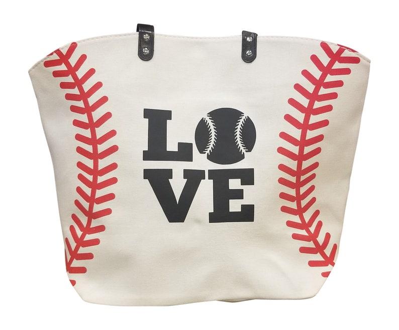 fa16339c1482 White Baseball LOVE Canvas Tote Bag, Great Baseball Bag