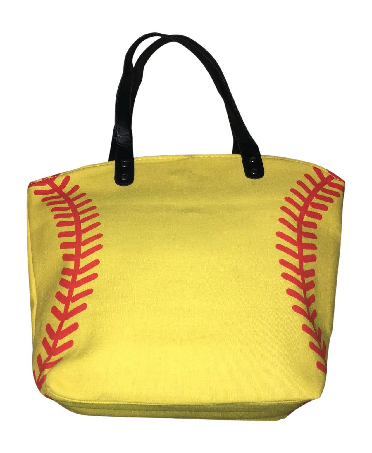 9db298063ccc Yellow Softball Canvas Tote Bag