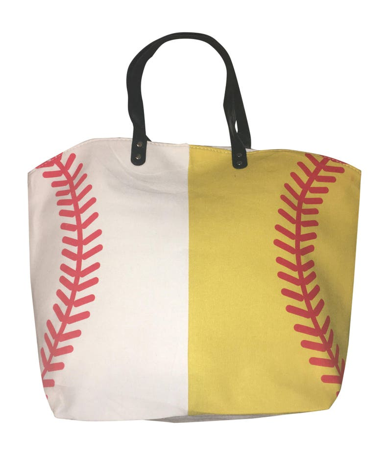 Half Baseball and Half Softball Canvas Tote Sports Bag Extra No Personalization