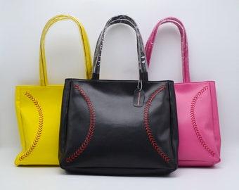 Leather Baseball Seam Purse, Handbag, Various Colors