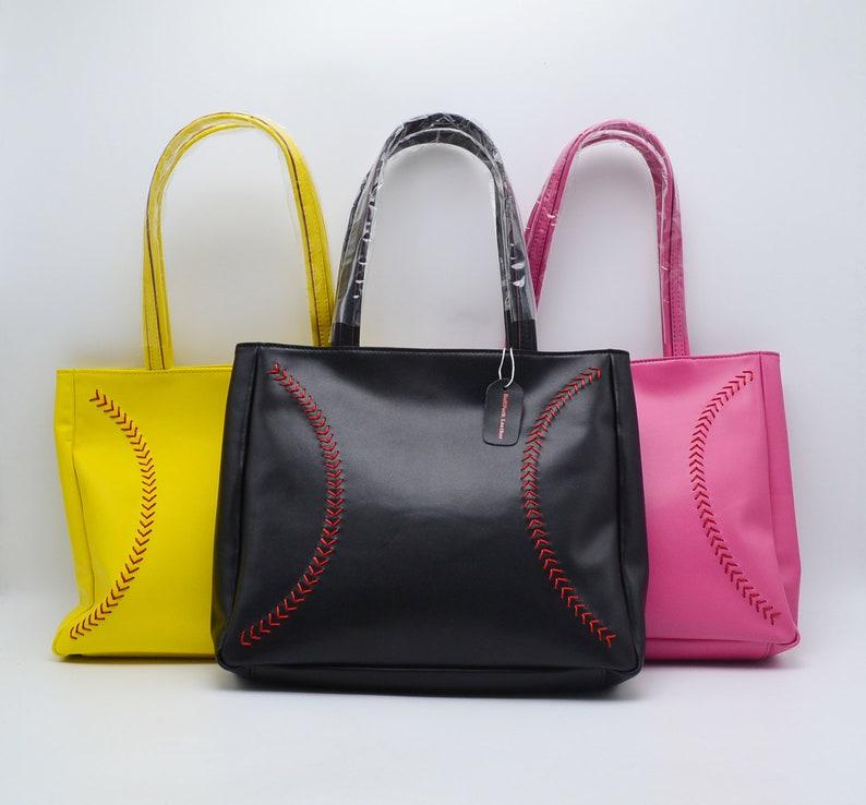 Leather Baseball Seam Purse Handbag Various Colors image 0