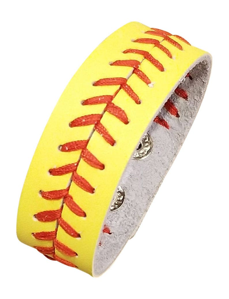 Yellow Leather Softball Seam Bracelet Sports Jewelry image 0