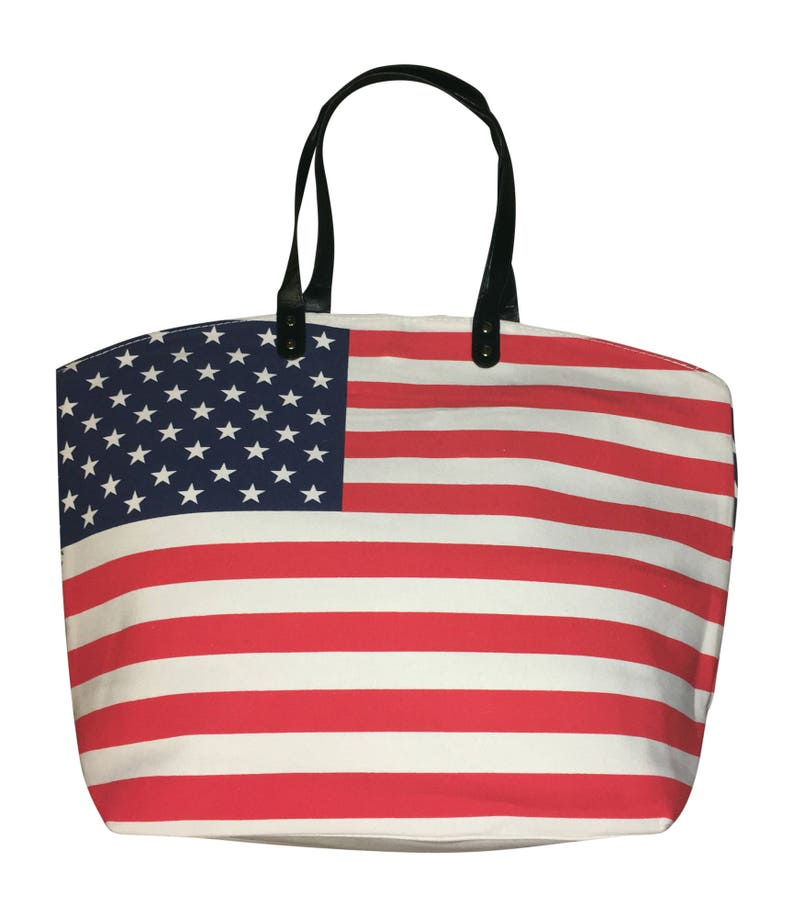 United States  American Flag Canvas Tote Bag  Lined Ex Large image 0