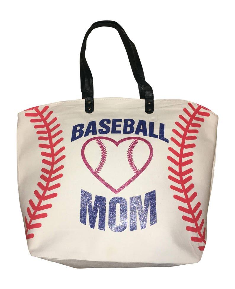 Baseball Mom White Baseball Cotton Canvas Sports Tote Bag image 0