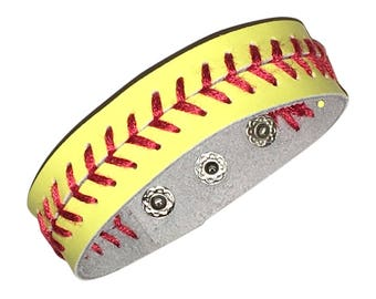 Yellow Leather Softball Seam Bracelet with Three Settings