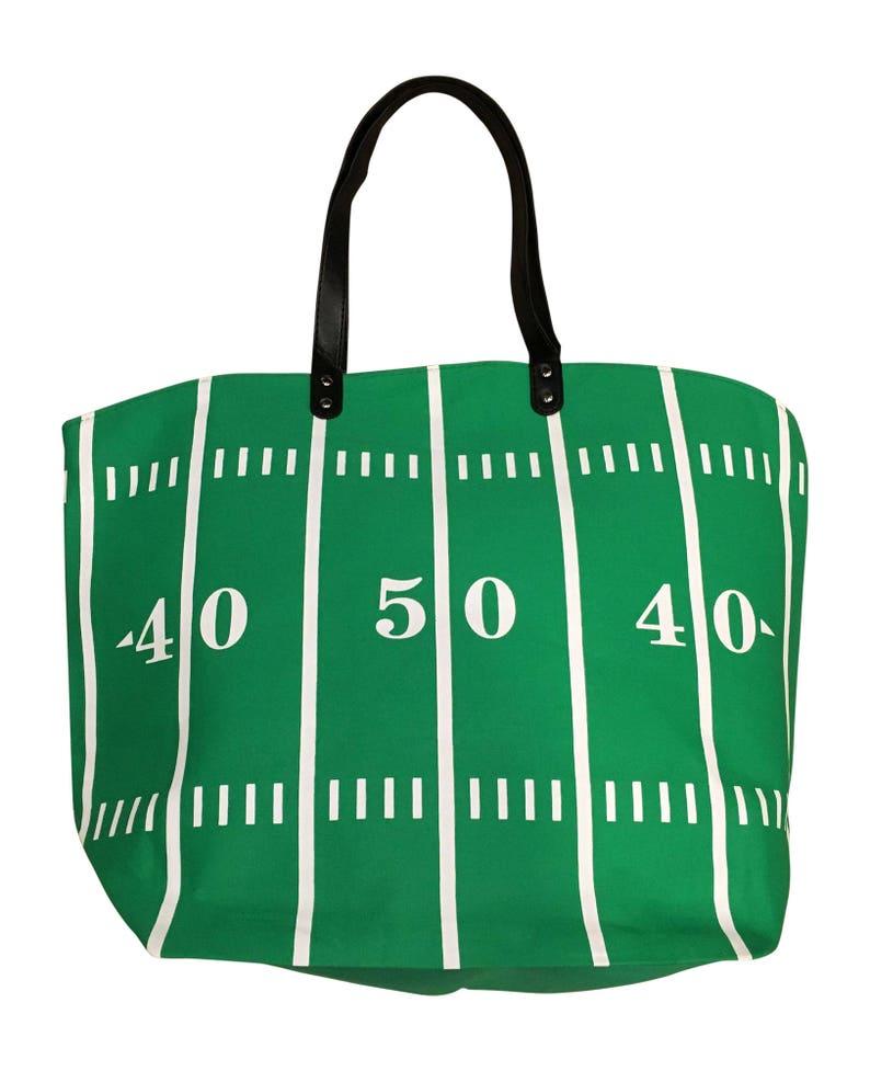 Green Football Canvas Tote Mom Sports Bag Purse image 0