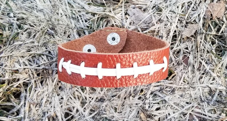Leather Football Bracelet Jewelry Brown Wristband with White image 0