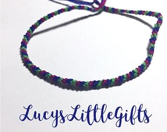 Striped Friendship Bracelet - Green, Purple, Dark Blue