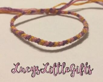 Striped Friendship Bracelet - Purple, Pink, Orange