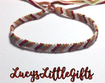 Striped Friendship Bracelet - Pink, Red, Light Green, White, Light Yellow, Light Brown
