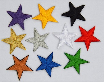"""Mixed star patches > embroidered > iron-on > 1"""" (25mm) from point to point > hand finished"""