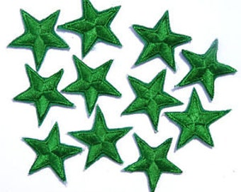 """Green star patches > embroidered > iron-on > 1"""" (25mm) from point to point > hand finished"""