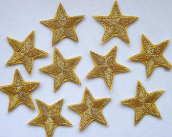 """Gold star patches > embroidered > iron-on > 1"""" (25mm) from point to point > hand finished"""