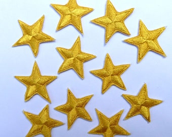 """Yellow star patches > embroidered > iron-on > 1"""" (25mm) from point to point > hand finished"""