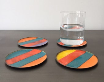 Vintage Striped Enamel Coaster Set of Four (4) // Multi Colour Rainbow // Enameled Copper Dish // Red Orange Yellow Blue Purple