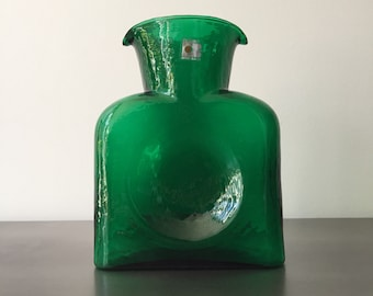 Vintage Blenko Double Spout // Decanter Carafe Water Pitcher Square // Emerald Green