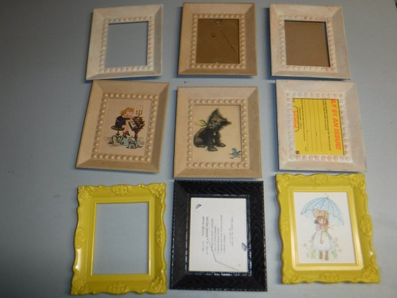 Nine Vintage Plastic Picture Frames From The 1960 S Collectible Wall Hangings Home Decor Repurpose 4 X 5 Photo Frame