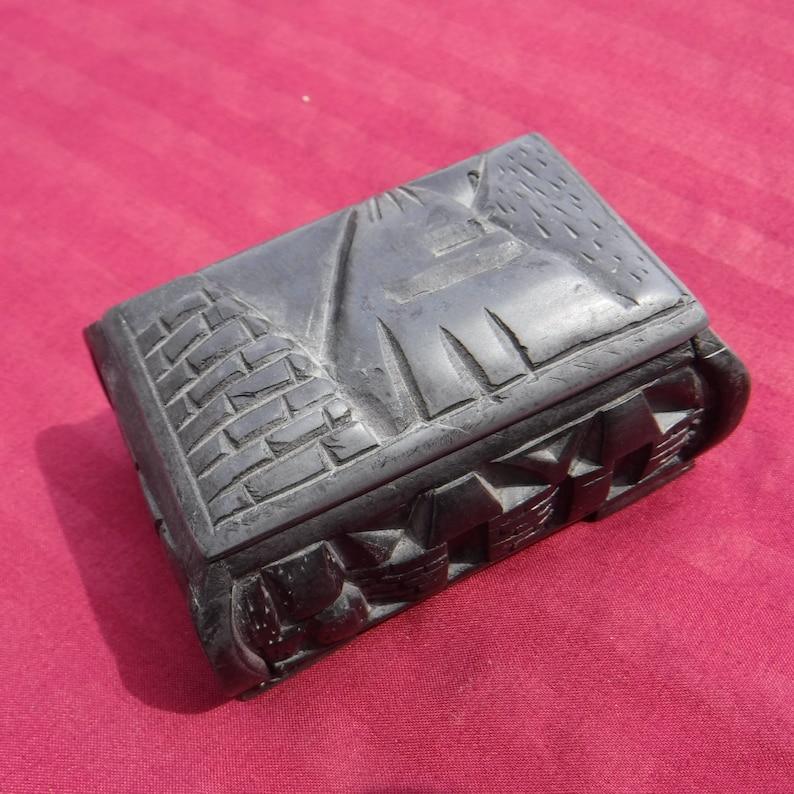 Vintage Miniature Trinket Jewelry Box Egyptian Design Pyramids Ancient Egypt Carved Stone Memory Box Storage Box
