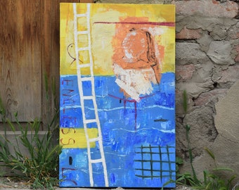 Modern art Original oil painting Contemporary art Stairway Original abstract painting Texture painting Abstract art