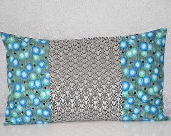 Turquoise, green, grey, blue and white tones - 50 x 30 cm - Patchwork fabric - pillow cover