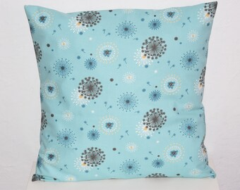 Pillow cover - 40 x 40 cm - dandelion pattern fabric - blue, grey, mustard and white tones