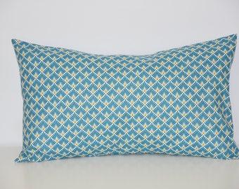 Pillow cover - 50 x 30 cm - geometric fabric - tones mustard and teal - Scandinavian decor