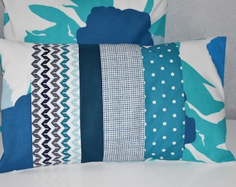 Cover of Pillow - 50 X 30 cm - different fabric prints - blue, turquoise, grey and white tones
