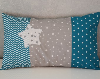 Cushion - 50 x 30 cm - kids room Decoration / baby - turquoise, gray and white tones