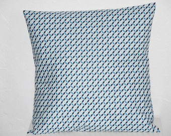 Geometric pinwheel - blue, grey and white tones - contemporary cushion - 40 x 40 cm - pattern cover
