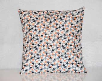 Pillow cover - 40 x 40 cm - fabric pattern triangles - blue, grey, orange and white tones - trendy Scandinavian