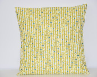 Pillow cover - 40 X 40 cm - printed fabric geometric triangles - trendy Scandinavian - yellow, blue and white tones / 00478