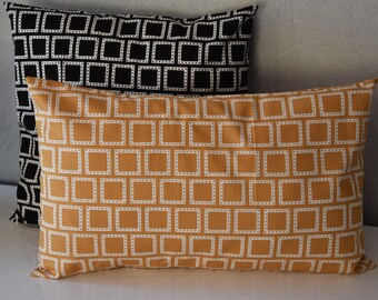 Cushion - 50 X 30 cm - geometric - mustard and white tones