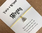 Harry Potter inspired personalised Youre a Wizard charm friendship / wish bracelet, hand made gift present, party bag filler