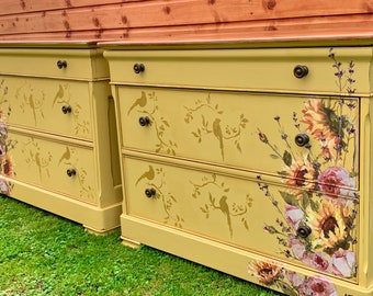 Country style painted pair of  sunflowers drawers