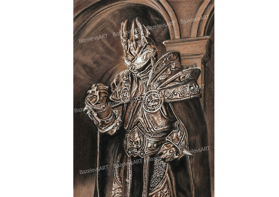 Warcraft Original Art Arthas Menethil The Lich King World Of Warcraft Frozen Throne King Armor Knight Legend Art Kraft Paper Charcoal
