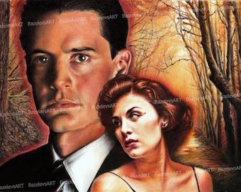 Twin Peaks postcard,ooak fan-art,Mystery art,hand-drawn postcard,Agent Dale Cooper,Kyle MacLachlan, David Lynch, Sherilyn Fenn, Audrey Horne