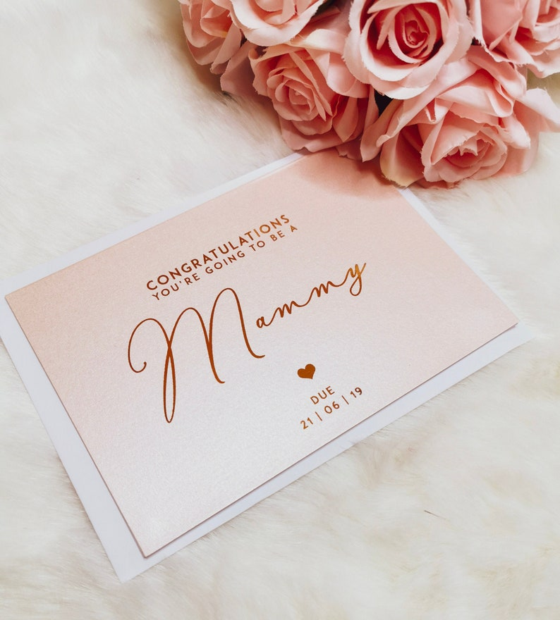 Pregnancy Reveal Gender Reveal We/'re Pregnant Card You/'re Going To Be A Mammy Card Real Foil Pregnancy Announcement Baby Due Card