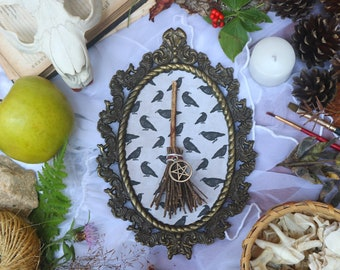 Framed Witch's Broomstick | Victorian Halloween Wall Decor | Antique Gothic and Witchy Home Decor | Retro Pagan Art | Oddities & Curiosities