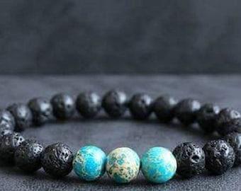 Bracelet blue sediment Jasper & lava stone