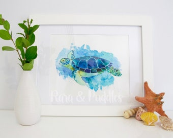 Watercolour Turtle Print, Blue And Green, Sea Turtle Illustration, Art Print