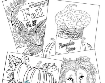 Fall themed coloring page set, set of 4 coloring pages
