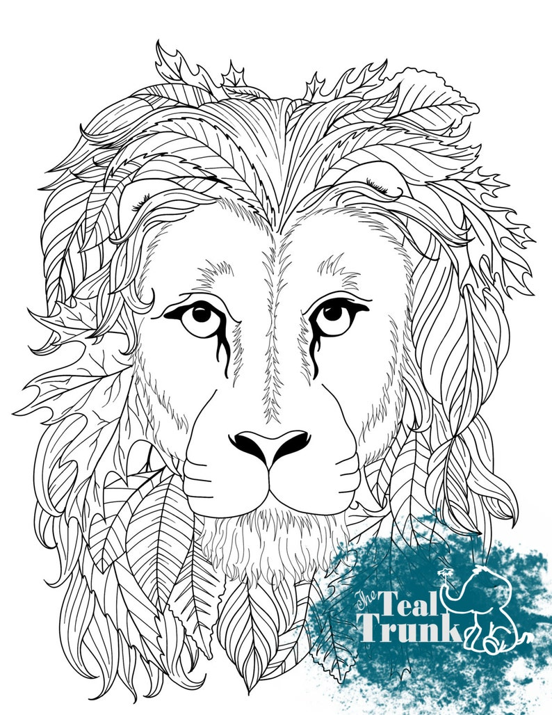 Printable Adult Coloring Page Zentangle Lion Head Coloring Page Wall Art Coloring Pattern Color Therapy Instant Download