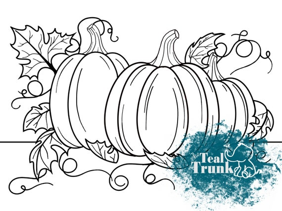 Pumpkin Patch Coloring Page Kids Fall Themed Coloring Page Etsy