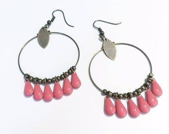 Pink Pearl drop creole earrings