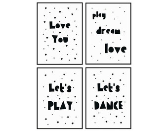 Set of 4 Postcards, Monochrome postcards, Black and white postcards, Quote postcards, Love you, Let's Dance, Let's Play, Play Dream Love
