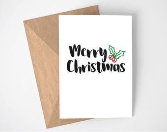 Merry Christmas card, Holly, Peace sign, Santa hat, Christmas card pack, Personalised Christmas card, custom Christmas card, Ho Ho Ho