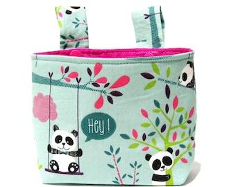 Handlebar bag, children's handlebar bag, impeller bag - cute panda bears, optional inner lining pink or turquoise