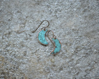Copper Crescent Earrings With Blue Patina - Copper Earrings - Moon Earrings
