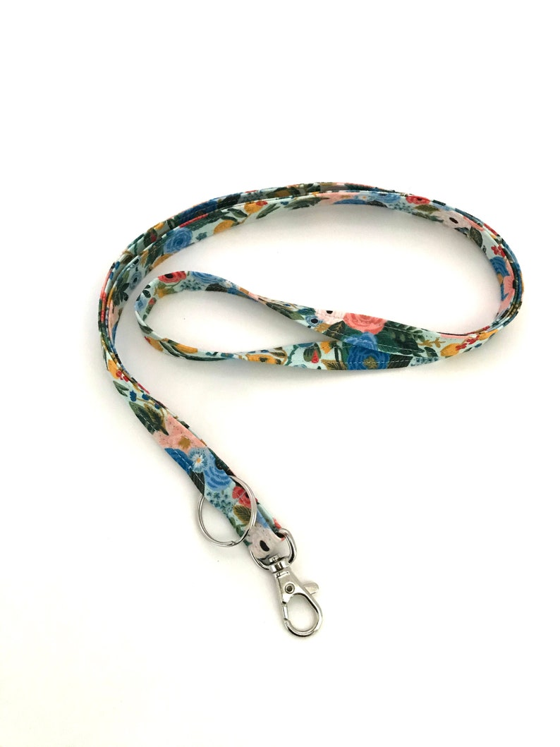 Women/'s Neck Strap Cord Id Holder Rifle Paper Co Teacher Lanyard Blue Key Holder Floral Key Ring Blue Floral Badge Holder